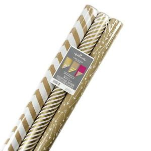 Christmas Wrapping Paper Jumbo Rolls Reversible Kraft Gold 120 sq ft 3 Pack NEW