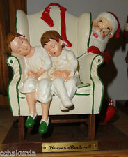 Norman Rockwell Santa New Christmas Sleeping Children wingback Chair Ftd