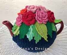 Crochet tea cozy navy blue cover Red Pink Roses tea cosy tea warmer