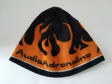 Audio Adrenaline knit cap beanie with flames black and orange winter ski hat