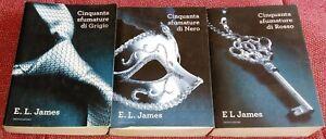 E.L. JAMES - 50 SFUMATURE DI GRIGIO, NERO, ROSSO TRILOGIA COMPLETA MONDADORI