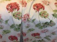 Laura Ashley Geranium, pale Cranberry curtains 64 x 54 inches, excellent.
