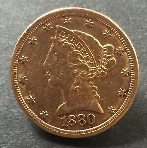 Gold Coin United States, Coronet Head, $5, Half Eagle, 1880,