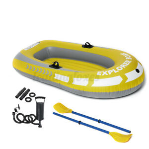 Inflatable 1-2 Person Explorer Pro Dingy Rubber Boat Air Pump Paddle Water Sport