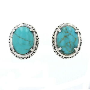 Sterling Silver Turquoise Large Stud Earrings - 925 Oval Cabochon Cut Pierced