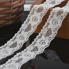 5Yards 3cm NEW White Elastic Lace Trim Ribbon Fabric Decor Crafts Sewing DIY