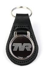 TVR Logo Quality Black Leather Keyring
