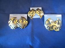 NOS Lot of 3 pair Gold Tone Black Enamel Fashion Stud Earrings     MK1