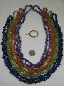 "Lee Sands 40"" set of 4 Amethyst, Peridot. Lapis Lazuli & Red Aventurine Twister"