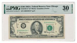 UNITED STATES banknote $100 1963A Chicago Fr#2163-G PMG VF 30 STAR note*