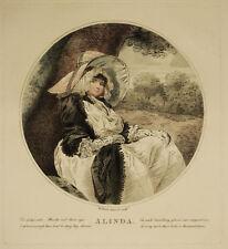 ALINDA WILLIAM WARD - Incisione Originale 1800 Lady Seated Tree Victorian Age