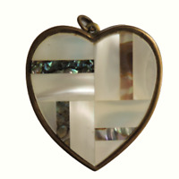 Vtg SANKYO HEART Music Musical Box Pendant Keychain Fob Pearl Inlay Rare Pendant
