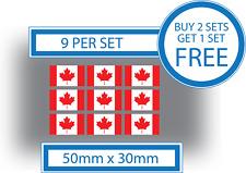 9 x Drapeaux Canadiens 50 mm x 30 mm Casque vélo Voiture Vinyle Stickers Autocollants canadien