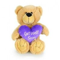 KORIMCO BUDDY GET WELL SOON BEAR BNWT PURPLE HEART 28CM