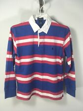 RALPH LAUREN POLO RUGBY SHIRT COLOR STRIPE WHITE BLUE PINK YOUTH M