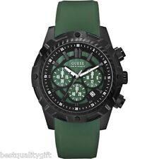 NEW-GUESS GREEN RUBBER BAND+BLACK DIAL+CHRONOGRAPH+DATE WATCH-U0038G2