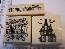 GOTHIC  HAPPY HALLOWEEN HAUNTED HOUSE  BATS  - 3 WM RUBBER STAMPS