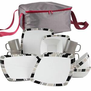 Melamin Geschirr Set 4 Personen Essgeschirr  mit Tasche Campinggeschirr 16 tlg