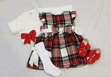 NEW AW18 Girls White / Red Tartan Pinafore Dress by Kinder Boutique 0-4 years