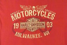 "VINTAGE LARGE RED HARLEY DAVIDSON ""SKULL/WINGS/1903"" 100% COTTON TEE SHIRT"
