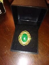 sterling silver gold plated malachite and peridot ring size p