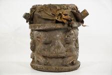 "Weathered Hand Carved Yoruba Drum 11.5"" - Nigeria - African Art"