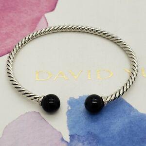 David Yurman Sterling Silver Diamonds & Black Onyx Solari 3.5mm Bangle Bracelet