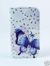 Samsung Galaxy S3 i9300 Case Flip Etui Tasche Schutz Schmetterling Strass blau