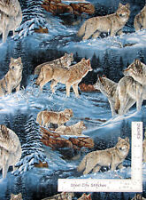 Wild Wings Wild Wolves Wolf Blue Scenic CP32883 Blue Cotton Fabric By The Yard