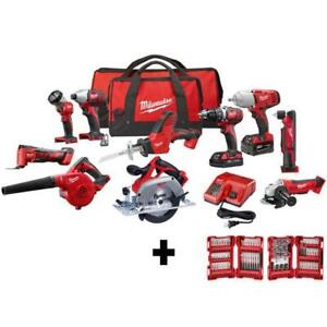 Milwaukee Combo Kit (10-Tool) with (2) Batteries, Charger and (2) + 100pc Drill
