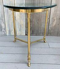 Vintage La Barge Maison Jansen Style Brass & Glass Hoof Foot Triangle Side Table