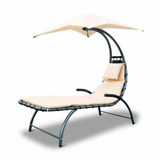 Gardeon Outdoor Lounge Chair with Shade Beige