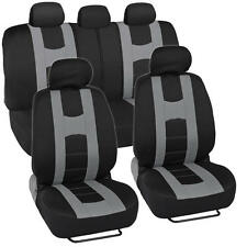 "Sporty Seat Covers for Car SUV ""Rome Sport"" Racing Style Stripes Black & Gray"