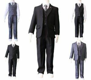 Boys Kids Baby Black Grey Formal Suit 5pcs Wedding Christening Suit Size 00-17