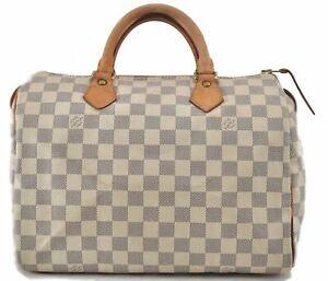 Authentic Louis Vuitton Damier Azur Speedy30 Hand Bag N41533 LV D4616