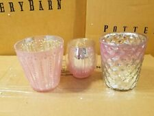 Pottery Barn Ecelectric Mercury Votive Candle Holder S/ 3 Pink #2496