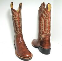Mint JUSTIN  Boots Cowboy Womens Brown Leather Western Boots US Size 7B
