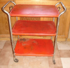VINTAGE KITCHEN THREE TIER CART, TEA CART,SERVING CART w removable top tray