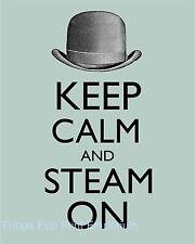 Steampunk Art Print 8 x 10 - Keep Calm and Steam On - Victorian Derby Hat Art