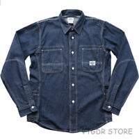 Non Stock 8.5oz Denim Work Shirt Blue Retro Long Sleeve Men's Casual Jean Shirt