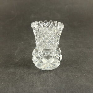 Vintage Small Crystal Vase /Toothpick Holder - 7.5cm Tall - Diamond Cut & Jagged