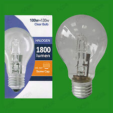 2x 100W (=130W) Clear Dimmable Halogen GLS Energy Saving Light Bulb, ES E27 Lamp