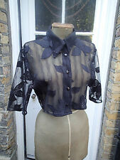 Après La Pluie-Paris Vintage Black Lace Net Cropped Blouse Size M