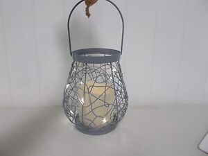 GER43679 EVERLASTING GLOW WILD WIRE RUSTIC LANTERN MINI LIGHTS CANDLE LED TIMER
