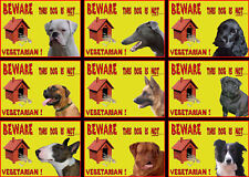 Beware Of The Dog Signs This Dog Is Not Vegetarian  Various Breeds Set A