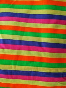 """7 yds x 44"""" Rainbow Stripe Fabric Springs Industries Cotton Bright Colorful  NEW"""