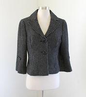 Ann Taylor Black White Polka Dot Wool Blend Swing Blazer Jacket Size 6