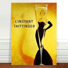 "Stunning Vintage Alcohol Poster Art ~ CANVAS PRINT 36x24"" Champagne Taittinger"