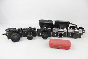 5 x Zenit SLR FILM CAMERAS Inc. E, EM, ET & 12XP w/ Some Helios Lenses