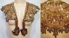 Vintage Rayon Collar Shawl Scarf Black Gold Sequins Beads Scalloped Edge Tassels